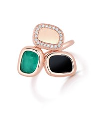Roberto Coin Black Jade Diamond And 18K Rose Gold Ring Green