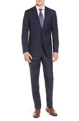 Peter Millar Big And Tall Flynn Classic Fit Windowpane Wool Suit Navy