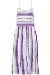 Lemlem Adia Striped Cotton Blend Gauze Midi Dress Violet