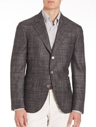 Brunello Cucinelli Wool Blend Peak Lapel Jacket Lead