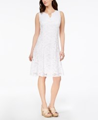 Jm Collection Petite Lace A Line Dress Bright White