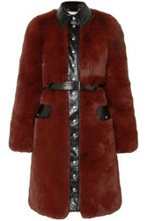Sonia Rykiel Woman Belted Faux Leather Trimmed Faux Fur Coat Brick