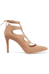 Loeffler Randall Delfine Lace Up Suede Pumps Sand