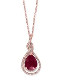 Effy Collection Effy Ruby 2 5 8 Ct. T.W. And Diamond 1 4 Ct. T.W. Pendant Necklace In 14K Rose Gold Red
