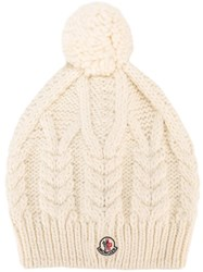 Moncler Pompom Cable Knit Beanie White
