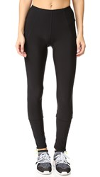Plush Fleece Lined Zippered Running Leggings Black