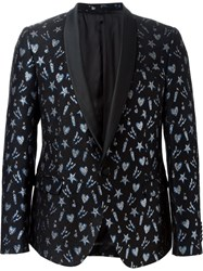 Msgm Patterned Dinner Suit Jacket Black