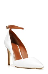Diane Von Furstenberg Women's Laredo Ankle Strap Pump White Leather