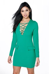 Boohoo Lace Up Pocket Detail Bodycon Dress Emerald