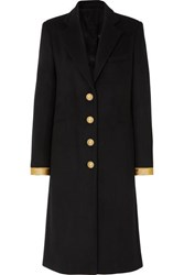 Paco Rabanne Caban Button Embellished Wool Blend Coat Black
