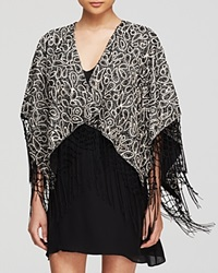 Alice Olivia Shawl Bae Embroidered Black Cream Silver