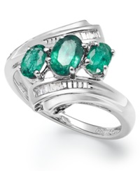 Macy's Sterling Silver Emerald 3 4 Ct. T.W. And Diamond Accent Three Stone Ring