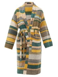 The Elder Statesman Belted Long Line Striped Cashmere Cardigan Multi