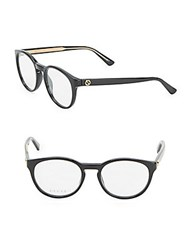 Gucci 50Mm Round Optical Glasses Black Crystal