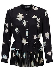 Marella Luchino Silk Floral Print Blouse Black