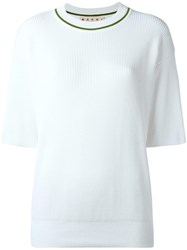 Marni Ribbed Short Sleeve Top White