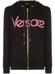 Versace Logo Embroidered Zip Up Hoodie Black