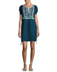 Seafolly Embroidered Coverup Linen Dress W Tassels Marine Blue