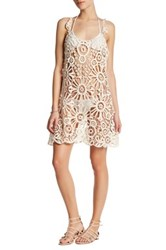For Love And Lemons Riviera Crochet Lace Cover Up Beige