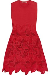 Antonio Berardi Knitted And Guipure Lace Dress Crimson
