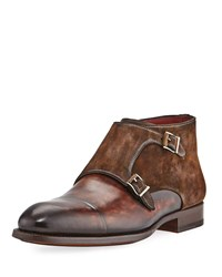 Magnanni Leather Double Monk Boot Brown