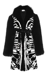 Zuhair Murad Rabbit And Fox Fur Coat Black White