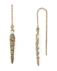 Rebecca Minkoff Jeweled Feather Threader Drop Earrings Gold
