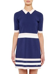 Ted Baker Colour By Numbers Origami Knitted Stripe Dress Navy