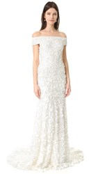 Theia Marina Off The Shoulder Petal Gown Ivory