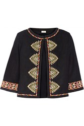 Talitha Embroidered Woven Silk Jacket Black
