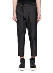 Song For The Mute Stripe Button Cuff Cropped Pants Black
