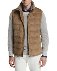 Loro Piana New Cortina Quilted Suede Vest Brown