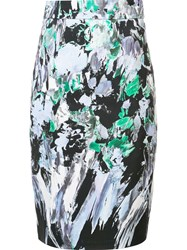 Milly Printed Straight Skirt Blue