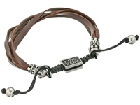King Baby Studio Brown Multi Strand Leather Bracelet With Crown Ends And Adjustable Macrame Closure