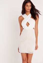 Missguided Premium Cross Front Lace Bodycon Dress White White