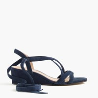 J.Crew Suede Ankle Wrap Wedges Admiral Blue