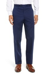 John W. Nordstrom Torino Traditional Fit Flat Front Solid Stretch Cotton Trousers Navy