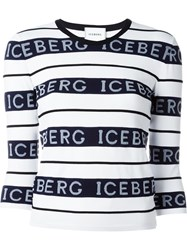 Iceberg Logo Print Sweater Blue