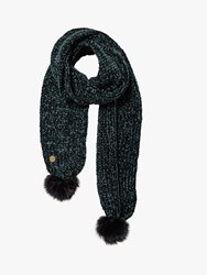 Fat Face Chenille Pom Pom Scarf Teal