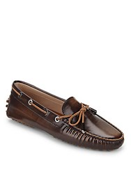 Tod's Slip On Leather Driving Loafers Orange