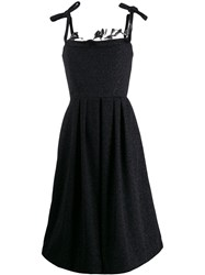 Marco De Vincenzo Feathered Evening Dress Black