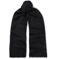 Tom Ford Logo Embroidered Cashmere Silk And Wool Blend Twill Scarf Black