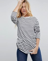 Asos Stripe T Shirt With Long Sleeve In Oversize Fit White Navy Multi