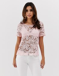 Vesper Versper Short Sleeve Lace Top Pink