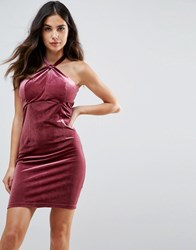 Wyldr Isabelle Velvet Mini Dress With Twist Front Detail Pink
