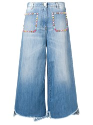 Elisabetta Franchi Multicoloured Stud Jeans Blue