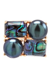 Perlaviva Jewelry Black Freshwater Pearl And Mother Of Pearl Cluster Ring Gray
