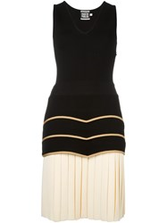 Fausto Puglisi Drop Waist Pleated Dress Black