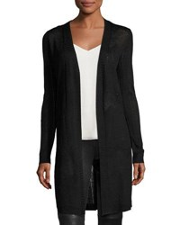 Neiman Marcus Pointelle Knit Open Front Cardigan Black
