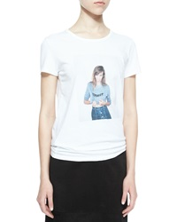 Alexa Chung For Ag Selfie Short Sleeve Jersey Tee True White